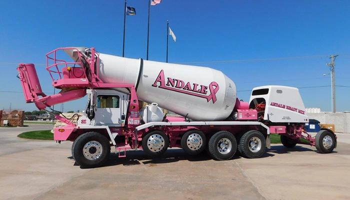 Andale Ready Mix Paint a truck Susan G Komen charity concrete truck
