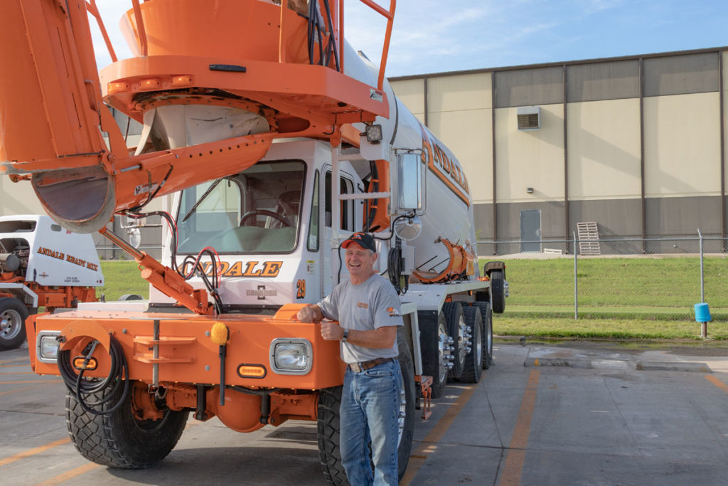 Showing happy employee of Andale Ready Mix